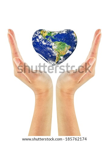 A conceptual for loving the world, the globe in the heart shape on woman hands isolated on a white background.Elements of this image furnished by NASA