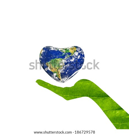 A conceptual for loving the world, the globe in the heart shape on woman hands isolated on a white background.Elements of this image furnished by NASA - stock photo