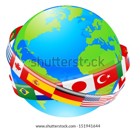 A conceptual illustration of a globe with the flags of lots of countries flying around it.  - stock photo