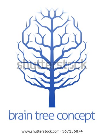 A conceptual illustration of a tree growing in the shape of a human brain - stock photo