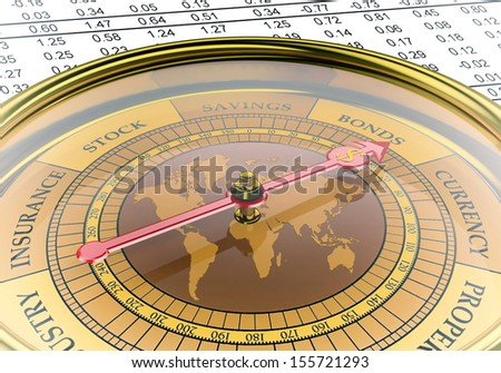 A  conceptual image for financial and business genre. A compass that can show you the money or the profit.