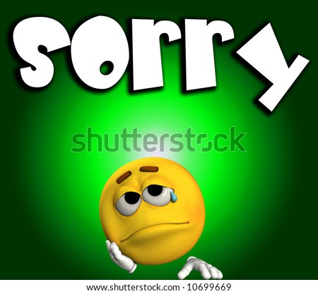 A conceptual image of a cartoon face that is very sad and sorry. - stock photo