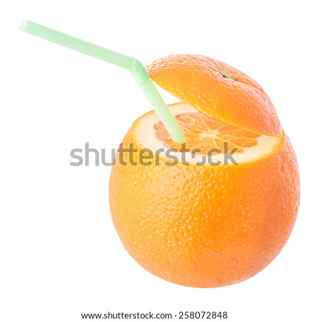 A conceptual image of a fruit drink with a straw  - stock photo