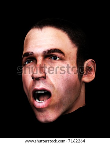 A conceptual image of a men in a state of fear.