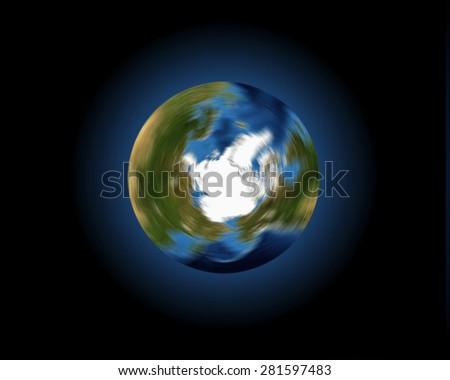 A conceptual image of the Earth spinning on its axis, looking down onto the Arctic and northern hemisphere