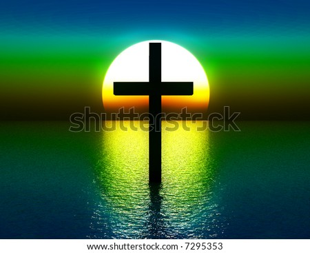 Conceptual Image Religious Symbolic Cross Water Stock Illustration