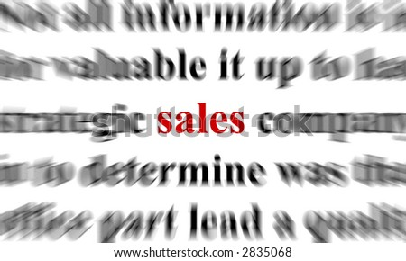 a conceptual image with the focus on the word sales
