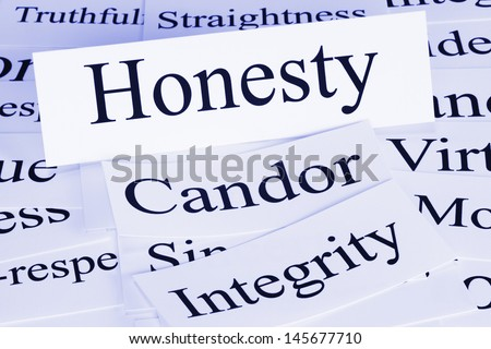 A conceptual look at honesty, condor, integrity,truthfulness,straightness.