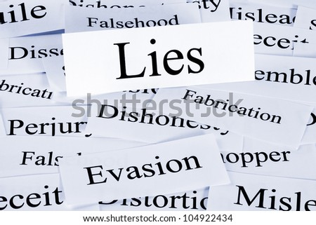 A conceptual look at lies or lying, evasion and dishonesty. - stock photo