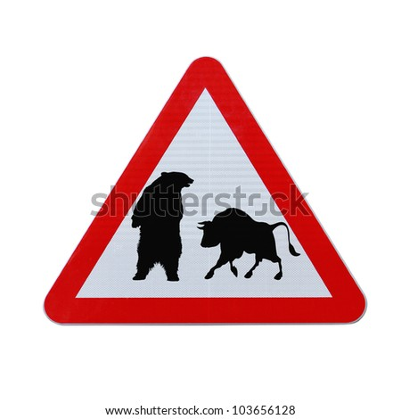 A conceptual road sign on business or finance implying market uncertainty (i.e. BEAR or BULL). Isolated on white with clipping path. - stock photo