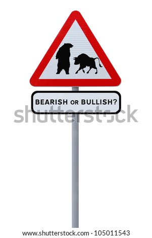 A conceptual road sign on business or finance implying market uncertainty (i.e. BEAR or BULL). Isolated on white.