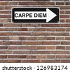 A conceptual road sign on opportunity (mounted on a brick wall)  - stock photo