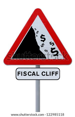 A conceptual road sign on the US fiscal cliff (on white) - stock photo
