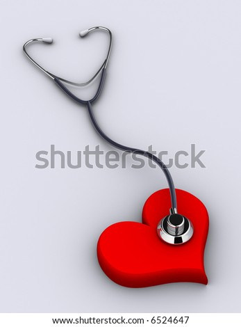 A conceptual stethoscope on heart - rendered in 3d