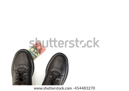 A conceptual studio photo looking down at your feet - stock photo