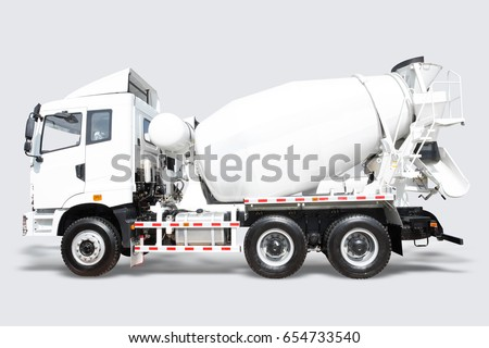 A Concrete mixer Delivery Truck isolated on white background with clipping path