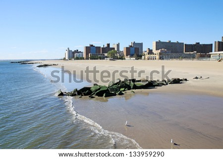 A Coney island view in winter time, New York City, USA - stock photo