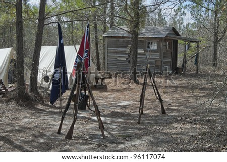 A Confederate camp in the Southern Woods. - stock photo
