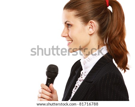 A conference speaker during presentation, side view, isolated on white background