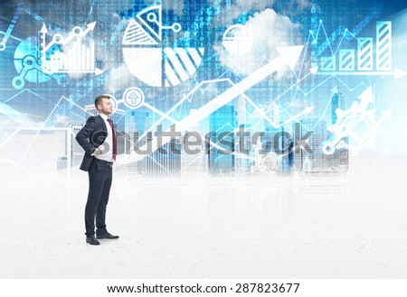 A confident trader is standing in the digital space over the New York city sketch. The concept of the capital market transactions and forex trading.