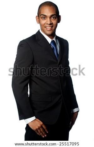 A confident young black businessman on white background