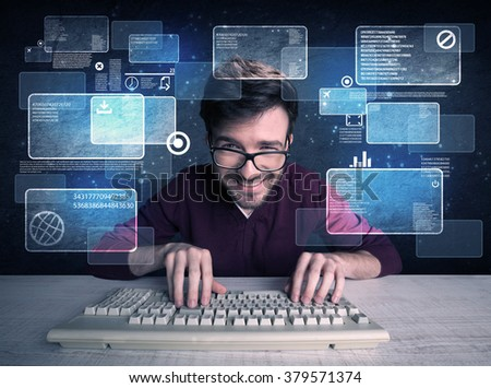 A confident young hacker working hard on solving online password codes concept with a computer keyboard and illustrated digital screen, numbers in the background - stock photo