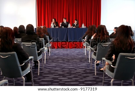 a congress in the big room - stock photo