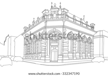 A constructed line drawing of a commercial building, Burnley, Lancashire, UK - stock photo