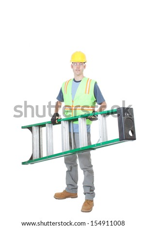 A construction worker carries a fiberglass ladder. Isolated on white. - stock photo