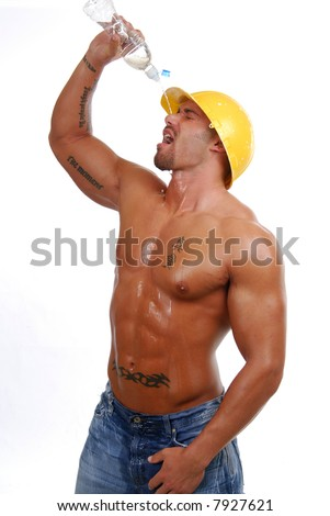 A construction worker cooling down on a hot day - stock photo