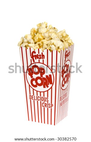 A container of movie popcorn isolated on a white background for use with any casual inference.