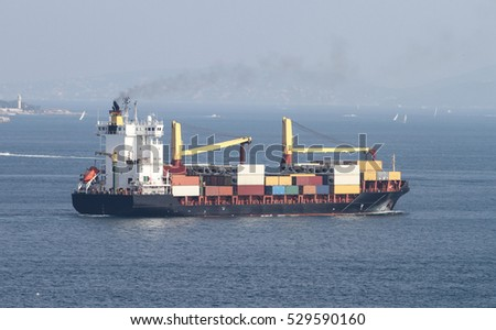 A container ship carrying goods between ports