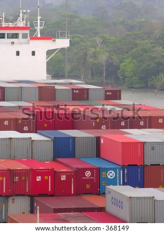 A container ship on the Panama Canal - stock photo