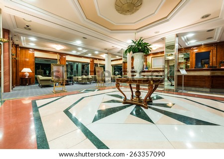 A contemporary lobby in a hotel - stock photo