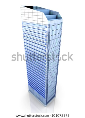A contemporary skyscraper. 3D rendered Illustration.