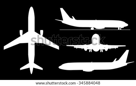 A contour illustrations of big airplanes. - stock photo