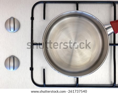 A cooking pot isolated on a stove top - stock photo