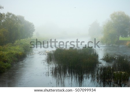 A cool image of the mist settling over the river creating a spooky environment