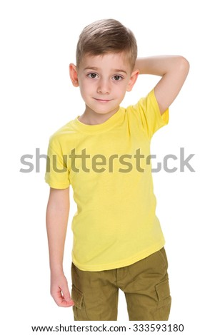 A cool little boy on the white background - stock photo