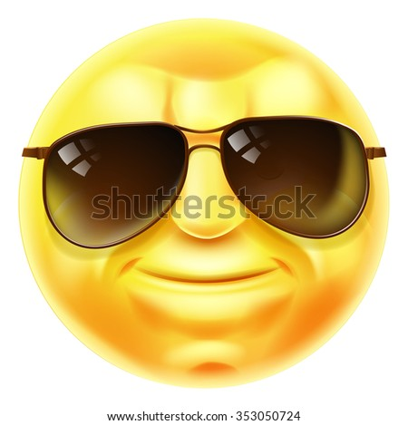 A cool looking emoji emoticon smiley face character with sunglasses on - stock photo