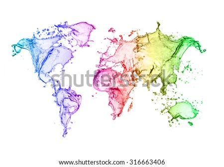 Cool water splash world map stock illustration 316663406 shutterstock a cool water splash of the world map gumiabroncs Image collections