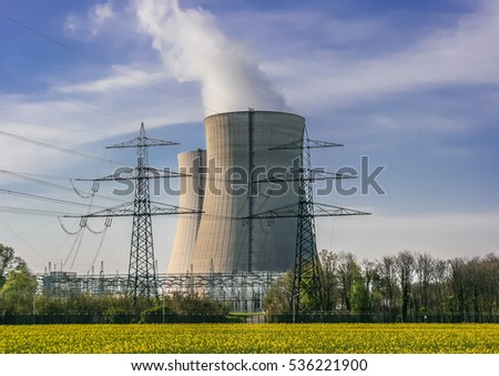 A cooling tower of a nuclear power plant in Germany