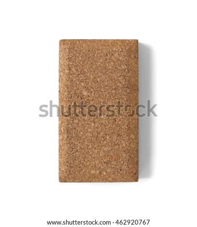 A cork sanding block isolated on a white background