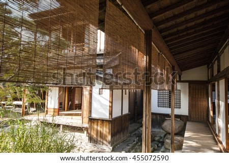 A corner at the veranda of a traditional Japanese house - stock photo