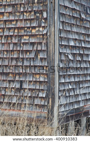 A corner of an old barn sits on a cool winter morning, Door County, Wisconsin