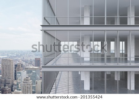 A corner of modern corporate skyscraper with panoramic office windows. 3d model.  - stock photo