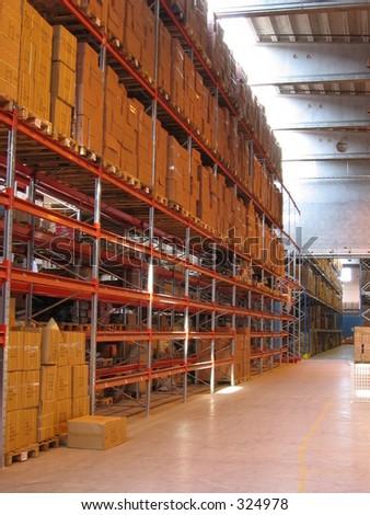 A corridor in a warehouse - stock photo