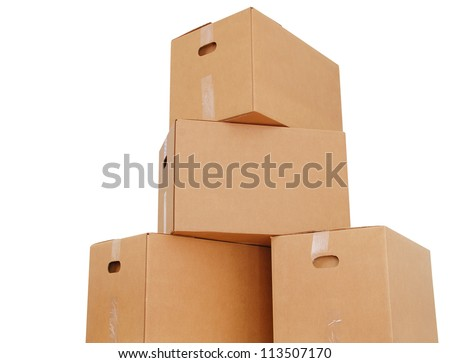 A corrugated box pile stacking - stock photo