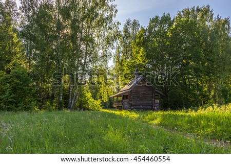 A cottage on a marge of a forest, Tver region, Russia - stock photo