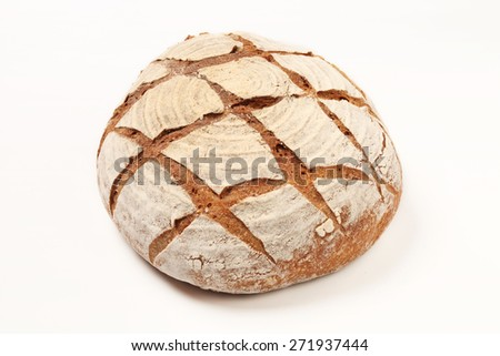 A country bread isolated on white background.         - stock photo